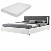 Двойно легло Corium®, Серия My.bed с вертикално LED-es осветление и матрак, 140x200cm, с подматрачна рамка, Изкуствена кожа, Бял/Сив