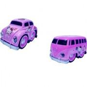 6th Dimensions Die Cast Pink Cartoon Printed Metal Model Pull Back Car Van Toy with Light Sound