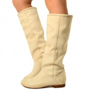 Stivali Donna Camperos Alti in Pelle Nabuk Panna Made in Italy T: 37, 39
