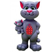Rvold Big size Intelligent Touching Talking Tom Cat and Baby with Talk Back Mimicry, Touch Functions (Grey)