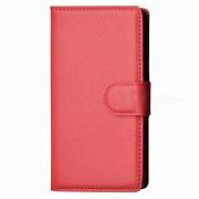 Litchi Grano Caja PU con Soporte para SONY Xperia Z5 Compact / Z5 Mi - Rojo