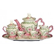 Childrens 10 Piece Doll Size Tea Set for Two - Elegant Pink