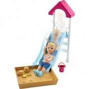 Set de joaca Mattel Barbie Papusa Bebe si Tobogan