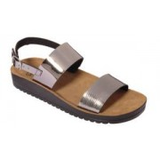 Scholl Scarpa Cynthia Sandal Mirror Synthetic W Pewter Tomaia In Similpelle A Specchio+stampata Fodera In Feltro Sottopiede In Pelle Scamosciata Suola Pu 41