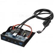 Cwxuan 19Pin / 20Pin a USB + hd-audio Adaptador de panel frontal para PC - negro