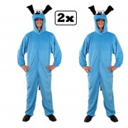 2x Kostuum blauwe hond S/M - Carnaval kostuum verkleed kleding thema feest hond dier blauw grappig en fout