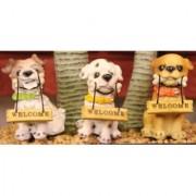 Wonderland 3.1 inches Set of 3 Bonsai Decoration Mini Dogs pups (terrarium home garden decor gifting)