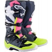 Alpinestars Tech 7 Motokrosové boty 44 45 Šedá Bílá Růžový