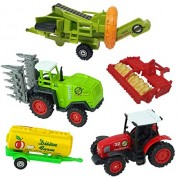 IndusBay Farmer Equipments Die Cast Farm Tractor and Trailer Set of 5 Farming Vehicles