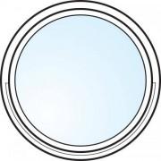 Fönster 2-glas energi argon rund vitmålat