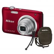 Nikon Coolpix A100 20.1MP Vermelha + Estojo + Selfie Stick