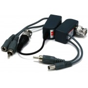 3-in-1 Video / Audio / Power - Passive CCTV Camera Video Balun SET over network cable