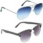 Zyaden Aviator, Oval Sunglasses(Blue, Violet)