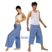 Light Blue Yoga Pants Thai fisherman Wrap Trousers 2 Lengths