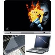 Finearts Laptop Skin 15.6 Inch With Key Guard & Screen Protector - Joker Card Fire