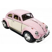 1:32 Scale 1967 Volkswagen Classical Beetle Ivory Door Classic Car Toy, Pink (5-inch) (Pink)