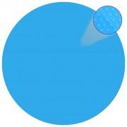 vidaXL Folie solară plutitoare piscină, rotundă, PE, 381 cm, albastru