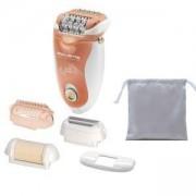 Eпилатор Rowenta - Soft Sensation, 4 сменяеми накрайника, технология за нежно епилиране, оранжев/бял, EP5720F1