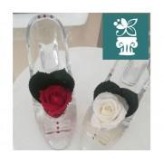 ROSABELLA® Rosa Stabilizzata Su Scarpa Tacco E 3 Strass - Ros-Stab-Shoe1