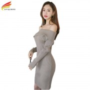 Long Sleeve Sweater Dresses For Winter Knitted Sweater Dress Thicken Warm Women Clothing Slash Neck Sexy Pencil Dress Woman
