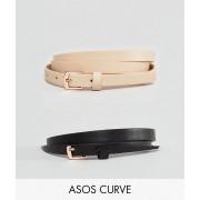 ASOS Curve Набор из 2 ремней с пряжками цвета розового золота ASOS DESIGN Curve