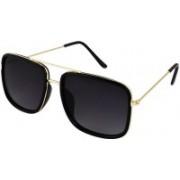 BLACK KNITE Retro Square Sunglasses(Black)