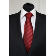 Pánská červená klasická kravata s černými pruhy - 8 cm