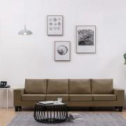 vidaXL 4-местен диван, кафяв, текстил