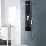 vidaXL Душ панел, стъклен, 25x44,6x130 см, черен