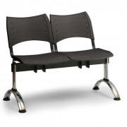 B2B Partner ławka do poczekalni plastikowa visio, 2 siedzenia, czarny, chromowane