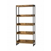 Estrella collection antique nutmeg finish wood with gunmetal finish metal frame 5 tier shelf