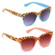 Knotyy Rectangular, Wayfarer Sunglasses(Pink, Blue)