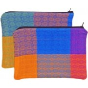 Revolt India Cosmetic Pouches for Woman for Travel 2 Pcs Set Multi Checks Size : 8 x 6 Inches Cosmetic Bag(Multicolor)