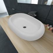 vidaXL Lavabo en forme ovale Céramique 63 x 42 cm Blanc