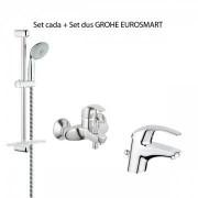 Set baterii Grohe Eurosmart, lavoar + cada + set dus (32925001-33300001-27600000)