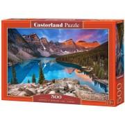 Puzzle Rasarit pe lacul Moraine - Canada, 500 piese