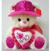 "Valentine's Pink 12"" Teddy Bear - Plays Music When Its Paw Is Pressed - Great Gift For Valentines Day"