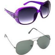 Hrinkar Round Sunglasses(Grey, Green)