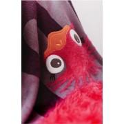 Paturica tricotata din bumbac Strut Roz cu Gri