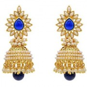 Jewels Gehna Alloy Antique Studding Pearls Gold Plated Funky Jhumki Jhumka Earring Set For Women