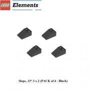 Lego Parts: Slope, 33 3 x 2 (PACK of 4 - Black)