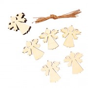 MagiDeal Pack of 10pcs Unpainted Angel Embellishment Tag Craft Christmas Tree Hanging Decor DIY
