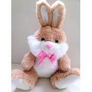 "Ultra Plush Biege WHITE BUNNY Pink Bow Plush Stuffed Animal Easter Rabbit Toy 15"" by Beautiful Bunnies"