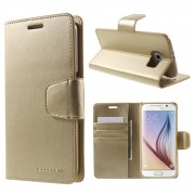 Korean Mercury Sonata Wallet Case for Samsung Galaxy S6 Edge - Gold