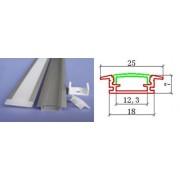 Alusín/alu profil szett, beépíthető, átlátszó pattintható takaróval 8-10-12 mm-es led szalaghoz! 2m sín+2 m átlátszó takaró+ 4 db rögzítő+ 2 db végzáró. Life Light Led.