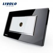 Priza simpla TV Livolo cu rama din sticla - standard italian, negru