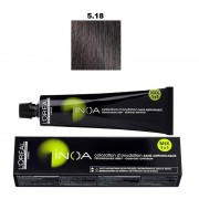 Vopsea permanenta fara amoniac L`Oreal Professionnel Inoa 5.18, 60ml