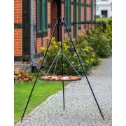 BBQ Schwenkgrill, mit Rost aus geschwärtztem Stahl 50 cm und Dreibein Stativ 180 cm Hoch.