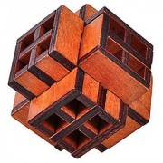 KINGOU 3D Wooden Window Cube Lock Burr Puzzle Brain Teaser Puzzles Removing Assembling Toy