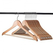 Right Traders Wooden Coat Trouser Skirt Garment Natural Wood Hanger (Set of 12 Pcs)